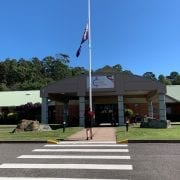 Raising the flag at Anzac Day services, Maroba